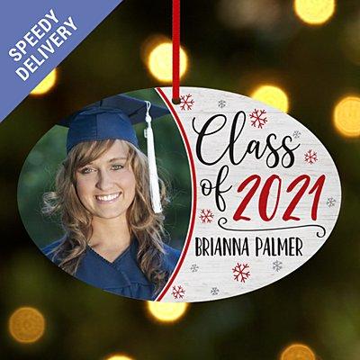 Graduation Photo Oval Bauble