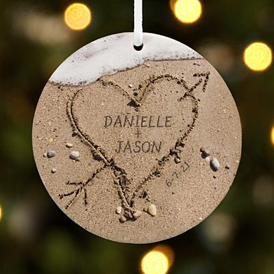 Heart in Sand Round Ornament