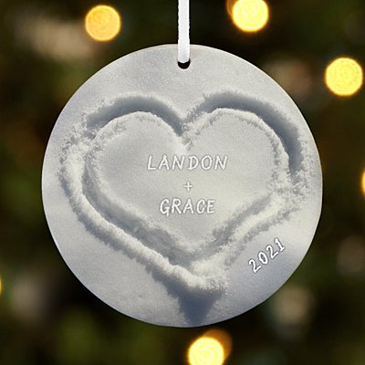 Heart in Snow Round Ornament
