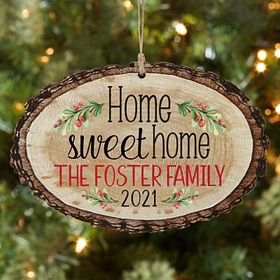Home Sweet Home Rustic Wood Oval Ornament