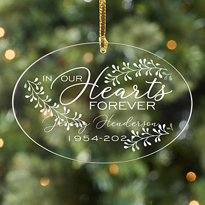 In Our Hearts Acrylic Oval Ornament