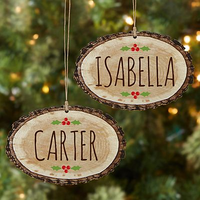 Jolly Name Rustic Wood  Oval Ornament