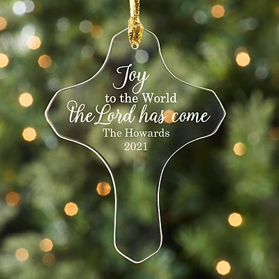 Joy to the World Acrylic Cross Ornament