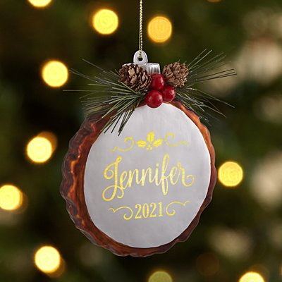 Lighted Pine Name Ornament