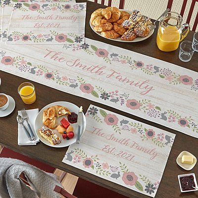 Rustic Easter Floral Table Runner & Placemats