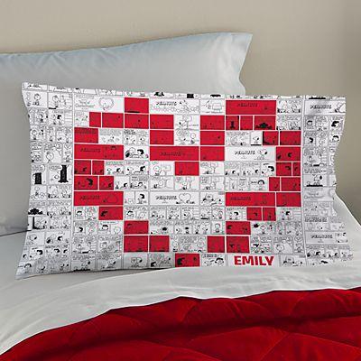 PEANUTS® Heart Comic Strip Pillowcase