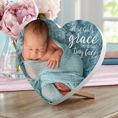 God's Grace Photo Mini Wood Heart