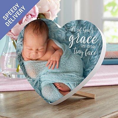 God's Grace Photo Mini Wood Heart