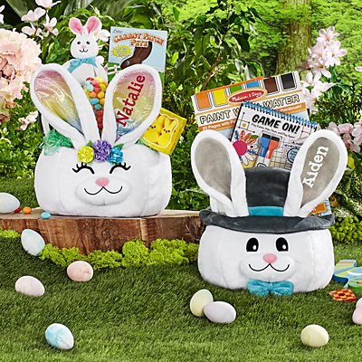 Fancy Bunny Plush Easter Basket