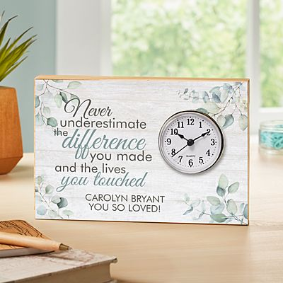 You Made A Difference Wood Clock