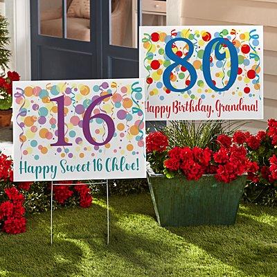 Colorful Birthday 2-Sided Yard Sign
