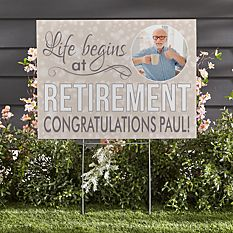 Life Begins At Retirement Photo 2-Sided Yard Sign