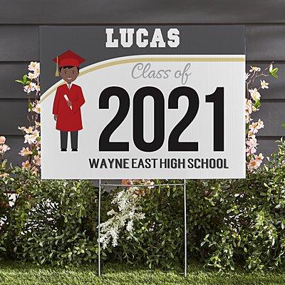 Graduation Character 2-Sided Yard Sign