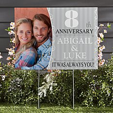Anniversary Photo 2-Sided Yard Sign with Stake