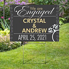 Engagement 2-Sided Yard Sign with Stake