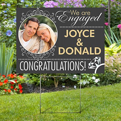 Engagement Photo 2-Sided Yard Sign with Stake
