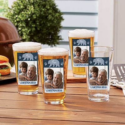Papa Bear Photo Pint Beer Glass