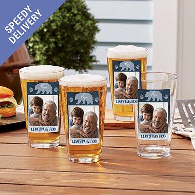 Papa Bear Photo Pint Beer Glass