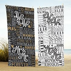 Signature Style Wedding Couple Beach Towels