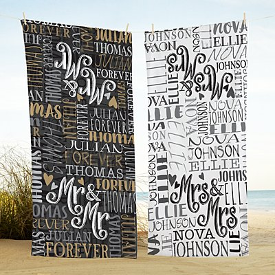 Signature Style Wedding Couple Beach Towels