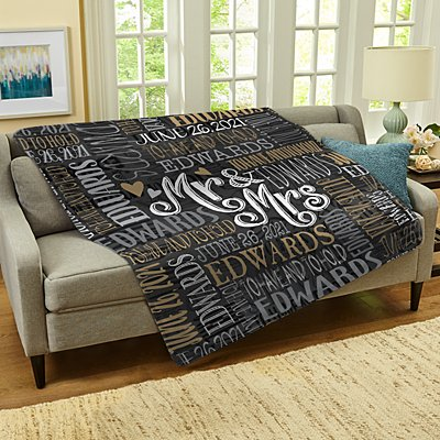 Signature Style Wedding Couple Plush Blanket
