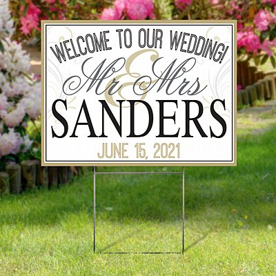 Wedding 2-Sided Yard Sign with Stake