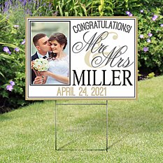 Wedding Photo 2-Sided Yard Sign with Stake