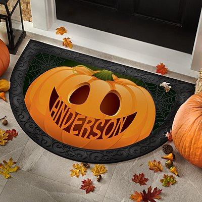 Jack-o-Lantern Pumpkin Half Round Doormat