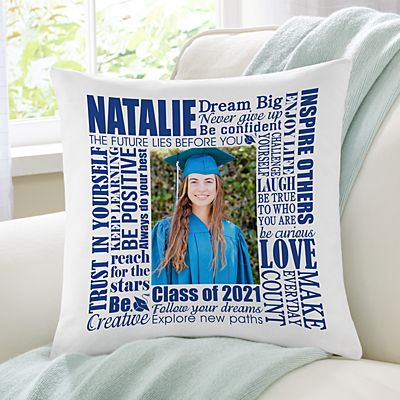 Dream Big Graduation Photo Throw Pillow