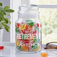 Life Begins At Retirement Glass Candy Jar