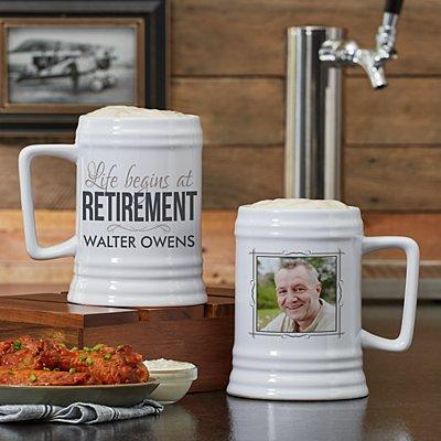 Life Begins At Retirement Photo Ceramic Beer Stein