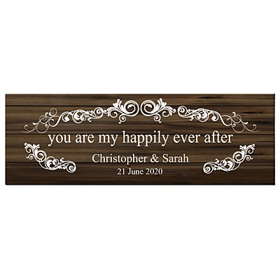 You Are My Happily Ever After Canvas - Brown - 45x15 cm