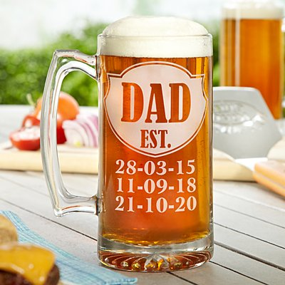 Dad Established Oversized Pint Glass