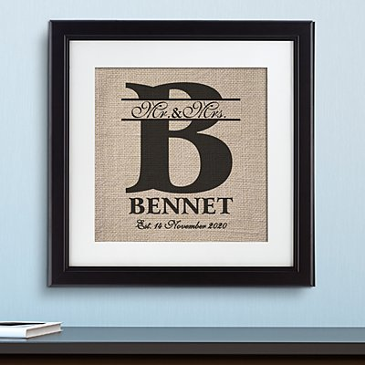 Burlap Initial Wedding Print