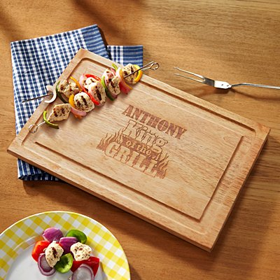 King of the Grill Wooden Chopping Board