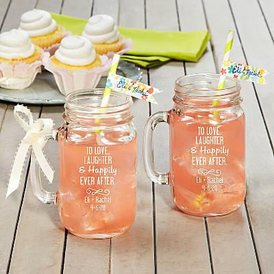 To the Happy Couple! Mason Jars-Set of 2