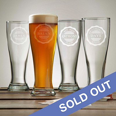 Wedding Party Pilsner Beer Glass
