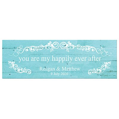 You Are My Happily Ever After Canvas - Blue - 45x15 cm