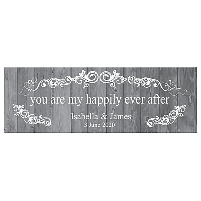 You Are My Happily Ever After Canvas - Grey - 45x15 cm