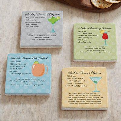 Custom Cocktail Recipe Marble Coasters