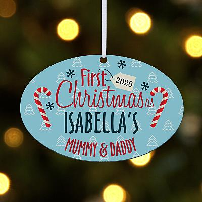 First Christmas Family Oval Bauble