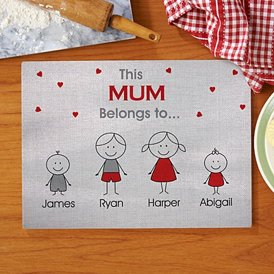 Family Belonging Glass Chopping Board