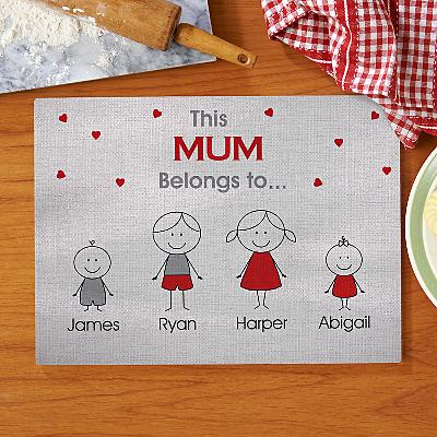 Family Belonging Glass Cutting Board