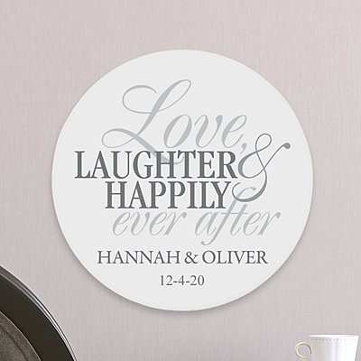 Love, Laughter, Happily Ever After Circle Wood Plaque