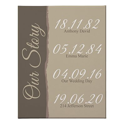 Our Story Canvas - Brown - 35x27 cm-Unframed