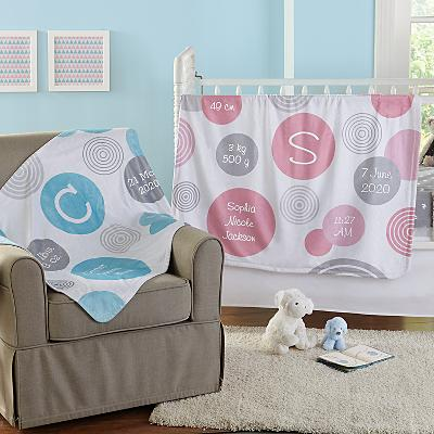 Polka Dot Birth Info Plush Blanket