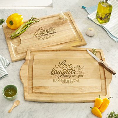 Love & Laughter Wooden Chopping Board