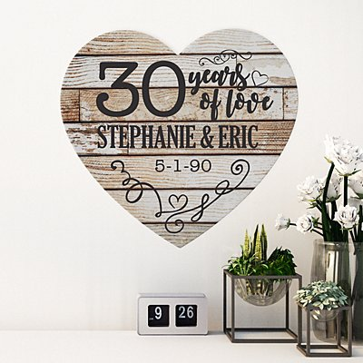 Years of Love Anniversary Wood Heart