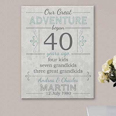 Our Great Adventure Anniversary Canvas