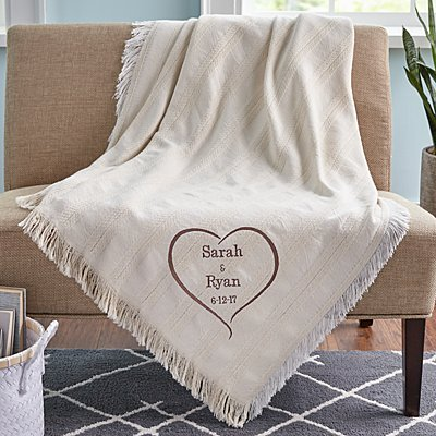 True Love Embroidered Throw